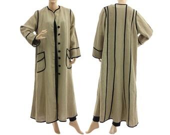 Flared linen maxi coat duster in nature, long linen flax coat nature beige black / lagenlook - medium to plus size women M-L, US size 10-14