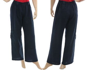 A long linen casual pants in navy blue, wide legs linen pants with pockets / lagenlook for small to medium sized women S-M, US size 8-12