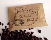Coffee Bag Wedding Favors a Custom Printed Brown Paper Sack Bridal Favors Coffee Bar Personalized