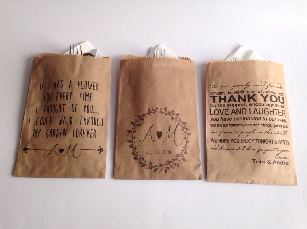 custom wedding favors trail mix bags for stephanie