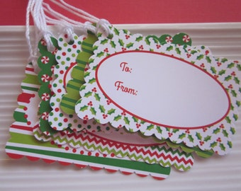 Christmas / Holiday / Red and Green Patterned / Gift tags / set of 12