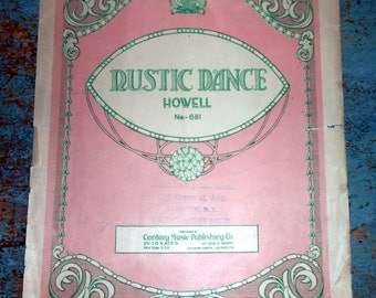 "Vintage Music Sheets, ""Rustic Dance"",  Piano, Music Score, Sheet Music"