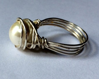 White pearl wire wrapped ring