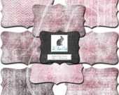 Shabby Fabric Frames Clipart Set #2-Pink & Chocolate Brown Scrapbook Instant Download Embellishment Label Elements -CU- 8 Separate PNG Files