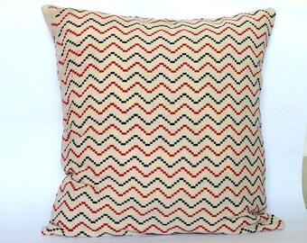 Chevron Stripes Black and Red Block Print Pillow cover, throw pillow