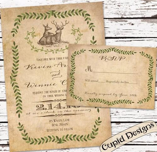 Rustic Wedding Invitation Deer Wedding Invite Vintage Wedding