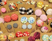 Fabric Covered Button Earrings / 100 Pairs / CUSTOM ORDER / Wholesale Jewelry / Small Gifts / Bulk Discount / Resale / Vintage Inspired