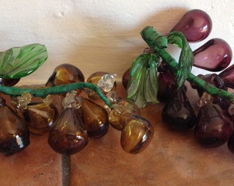 Vintage Handblown Glass Grapes