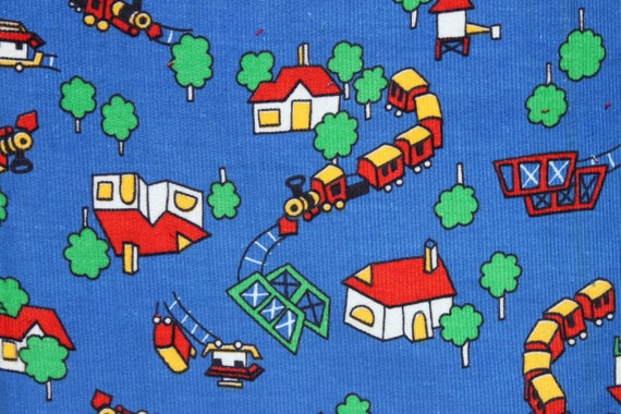 Train fabric kids corduroy cotton blue primary colors 2 yards for Kids corduroy fabric