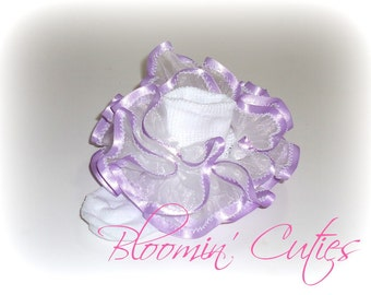 White Organza with Lavender Satin Trim Newborn Infant Toddlers and Girls SUPER RUFFLE Socks by Bloomin Cuties Boutique
