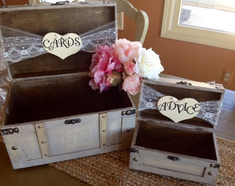 Rustic Wedding Card Box, Lace Wedding, Burlap Wedding, Large Card Box, Personalized, Set of Two.