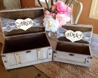 Rustic Wedding Card Box,Lace Wedding, Burlap Wedding, Personalized, Set of Two.