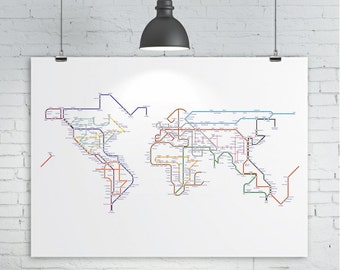 Subway Map / Tube Map / Metro Map of the World, 16x12, A3, 17x11, 19x13 World Map Art Print