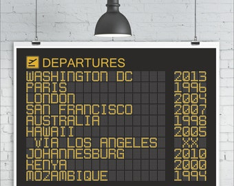 Personalised Departures Board Print, Sizes A1 or A2, Personalized Travel Art Print