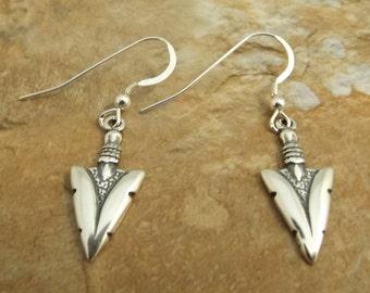 Sterling Silver Arrowhead Charm Earrings on Silver Dangle Ear Wires - 1069