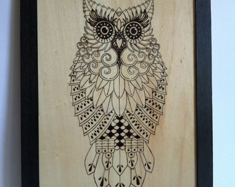 Mechanical owl pyrography wood fire