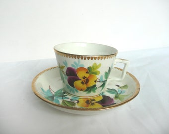 Edwardian cup and saucer - antique cup and saucer - vintage porcelain cup and saucer - hand painted cup and saucer - vintage pansy porcelain