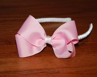 Light Pink Bow Headband / Toddler Headband / Bow Headband / Satin Wrapped Headband / Adult Headband