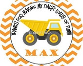 Construction Dump Truck Orange Chevron, Round Labels Stickers, Gift Tags, Party Favors, Address Labels, Goodie Bags, Treat Bags