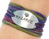 Balance Silk Wrap Bracelet Live Life Inspirational Jewelry With Meaning Engraved Healing Lotus Flower Unique Yogi Gift For Her Under 50 C25
