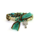 Cross Silk Ribbon Bracelet Handmade Yoga Jewelry Earthy Ooak Hemp Unique Spiritual Charm Yogi Gift For Her Christmas Birthday Under 50 C55