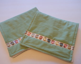 Burp Cloths Mint Green Set of 2 Cloth Diaper Burp Cloths for Baby Boy or Baby Girl Unisex Gender Neutral Baby Shower Gift  Newborn Present