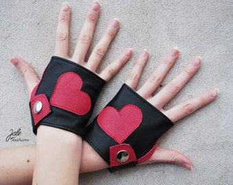 ON SALE! Leather gloves, fingerless gloves, red hearts, black leather gloves, red and black, Valentine's day, Sexy Valentine's day