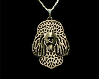 Irish Water Spaniel - gold pendant and necklace.