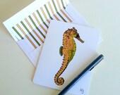 Seahorse Card Sea Life Art Beach Stationery Coastal Card Printed Note Card Sea Creature Greeting Card Beach Theme Card Ocean Theme Cards