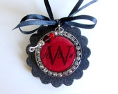 Black Red Wedding Bouquet Charm Personalize Wedding Shower Gift Monogram Wedding Paper Anniversary Rock and Roll Wedding Keepsake Ornament