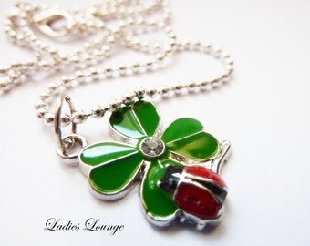 lucky Charm - shamrock Necklace, Kids Jewelry, short Necklace, silver Jewelry