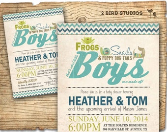 Boy baby shower invitation - frogs snails puppy dog tails baby shower invite - coed boys baby shower printable invitation