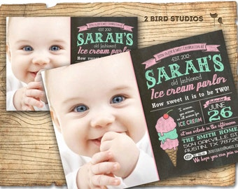 Ice cream invitation- chalkboard ice cream party - ice cream parlor invite - summer vintage ice cream truck DIY photo printable invitation
