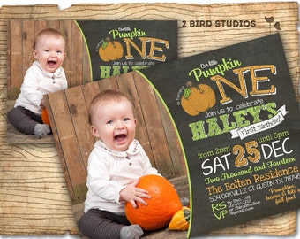 Pumpkin birthday invitation - our little pumpkin birthday party - chalkboard invitation- little pumpkin party - printable pumpkin invitation