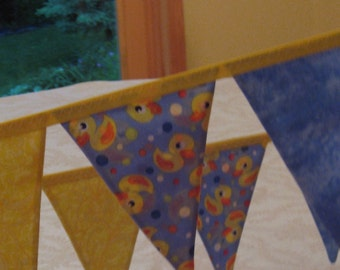 Flag Fabric Banner, Banners 9 feet long, RUBBER DUCKIE, Birthday Party, Childs Room,  Photo Shoot