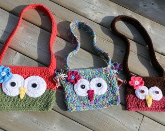 Owl Purse Crochet Pattern with Flower PDF Pattern Long Strap Cute Purse Handbag Toddler Girl Purse Permission to Sell