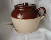 Vintage Bean Pot Brown and Tan Yellow Ware Large Size Made in USA Mid Century Boston