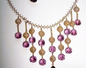 Bridal Wedding Jewelry Necklace & Earringss Purple Lavender Violet Retro Bride February Birthstone