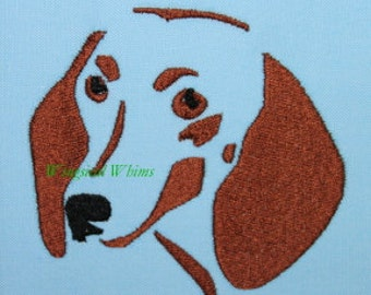 Doxie head Dachshund Machine Embroidery File ONLY Weiner Dog