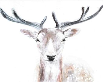 Deer original watercolor painting, animal illustration