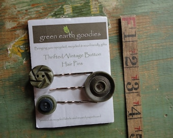 Vintage Button Hair Pins, Set of 3, Thrifted or Vintage Buttons, Khaki green/grey Button bobby pins, Clearance hair clips, Destash Hair Pins