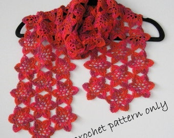 Pattern. Flower scarf pattern. Light and lovely scarf.  Instant download. PDF crochet pattern. Photo tutorial.