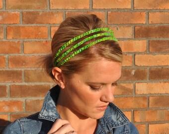 Green Crochet Headband Batik Fabric Hair Accessory