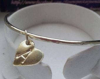 Stacking  Bangle Charm Bangle Heart Bracelet Jigsaw Bracelet Silver Bracelet Heart Charm Jewelry Bridesmaid Gift