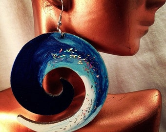 Blue and White Swirl Earrings