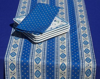 Table Runner . 100% French high quality cotton.With or without napkins. Fabric from Provence, France. Esterel blue  .
