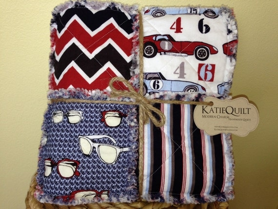 FOR HALEY - Speedster - Reversible Rag Quilt - Boy - Red, Navy, Grey - Baby Size - Ready To Ship