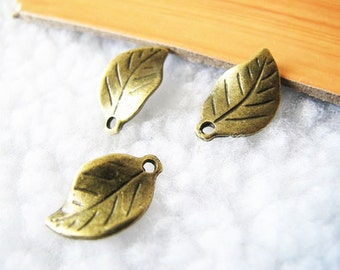 30pcs 11x19mm Antique Bronze Double side Lovely Leaf Charms Pendants Drops Jewelry Supplies A1907-20A