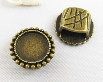 10pcs 12mm Pad Antique Bronze Spacer Bead Base Setting Cameo Cabochon Round Base Settings 3D31-29