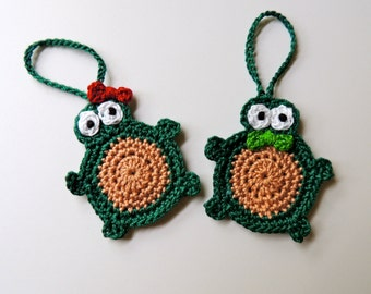 Turtle Christmas Ornaments -- Set of Two